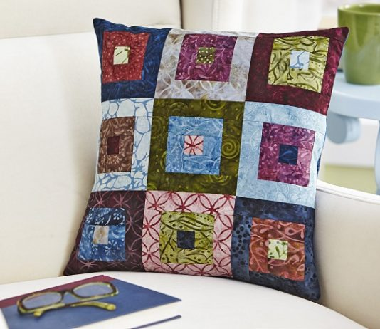 Batik Log Cabin Pillow