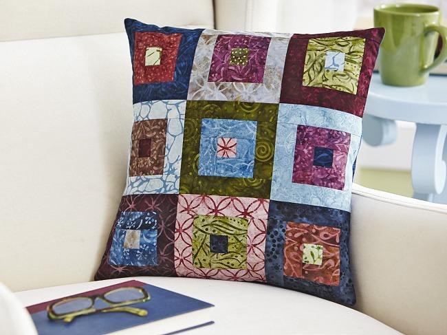 Batik Log Cabin Pillow