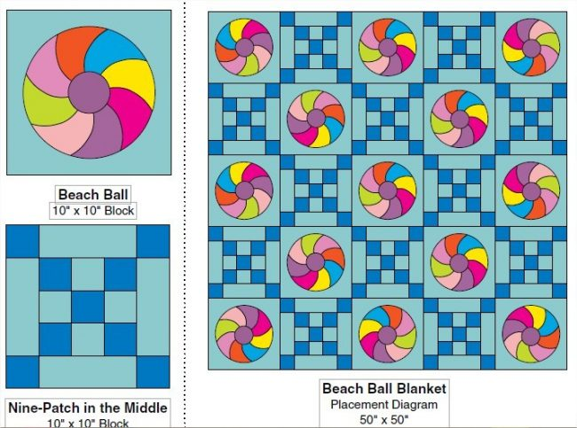 Beach Ball Quilt with Tote Bag Free Pattern