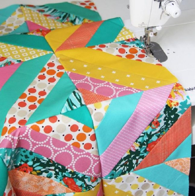 Diagonal Strip Quilt Tutorial by Allison Harris